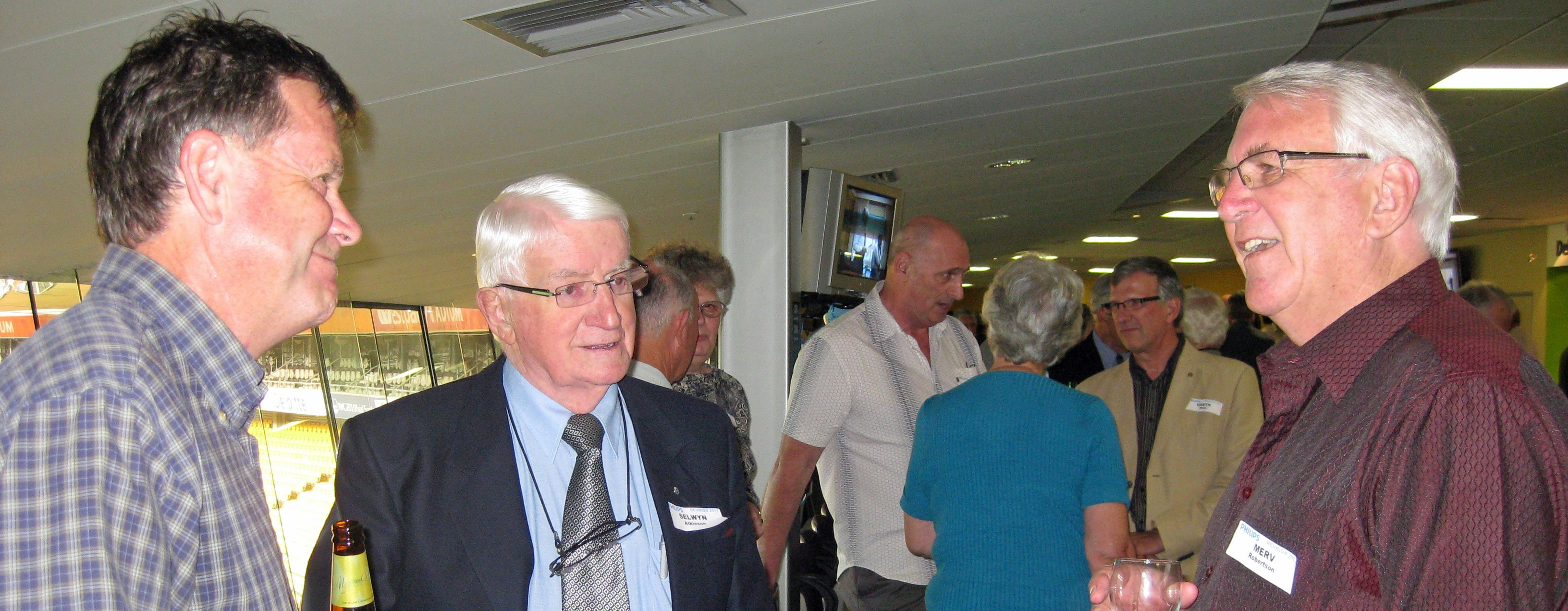 Above: Selwyn Atkinson (centre) at the Philips reunion in March 2011, flanked by Russell Hartnoll and Merv Robertson (right).