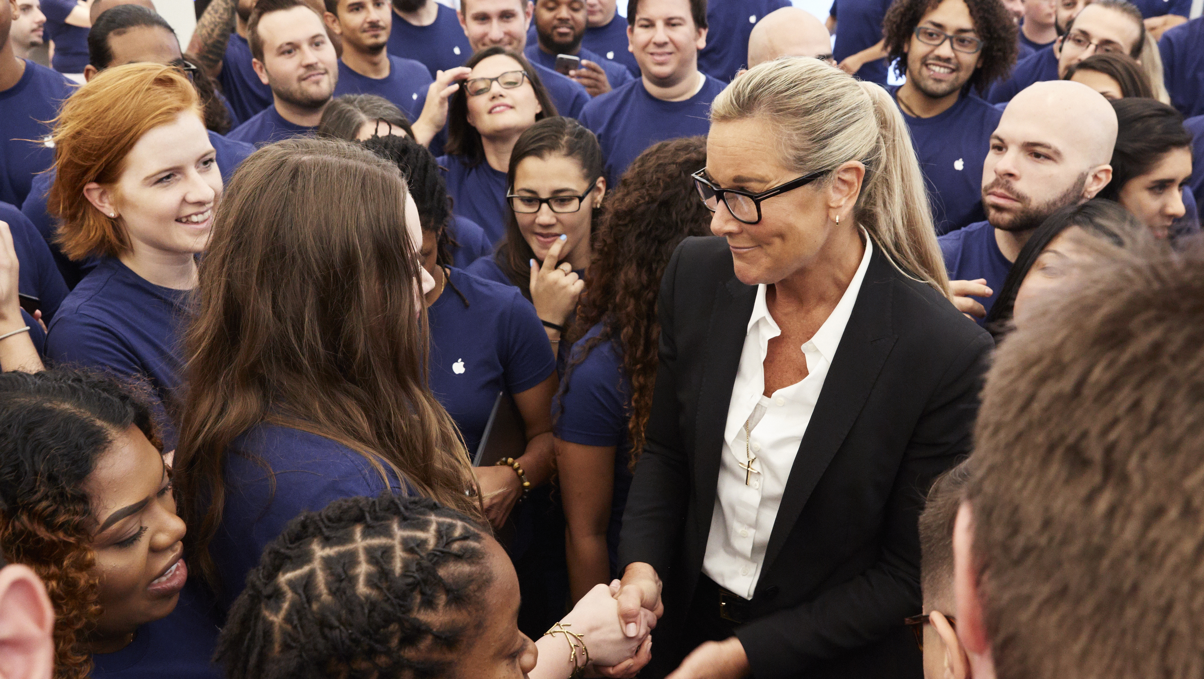 "Angela Ahrendts (above): ""I don't want to be sold to when I walk into a store. The job is to be a brilliant brand ambassador. Don't sell! No! Because that's a turn-off. Build an amazing brand experience, and then it will just naturally happen."""
